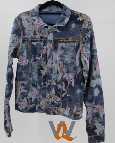 Womens Reversible Denim Jacket - Navy & Lillies