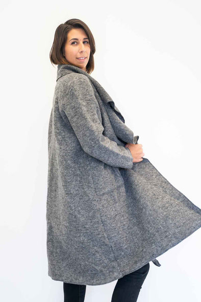 The Italian Closet Sicura Woolen Waterfall Coat