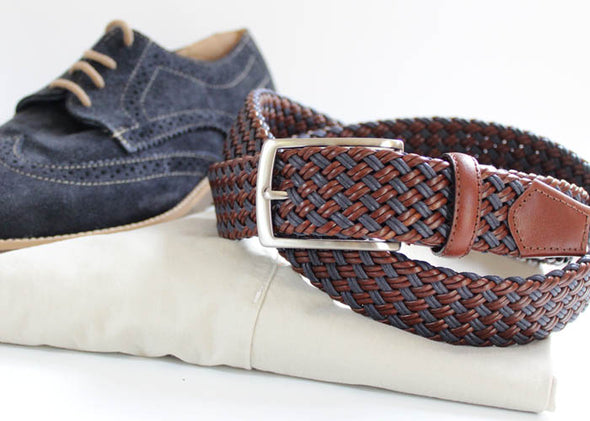 Woven Blue & Brown Italian Leather Stretch Belt