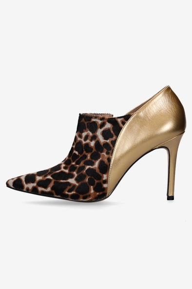 Hey Monday Helena Leopard & Gold Ankle Heel