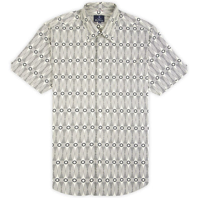 Ben Sherman Retro Linear Print Short Sleeve Shirt - Ecru