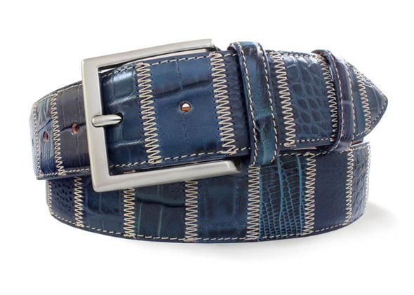 Blue Italian Leather Patchwork Belt