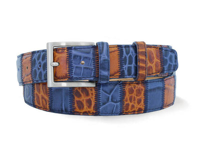 Blue/ Tan Italian Leather Patchwork Belt