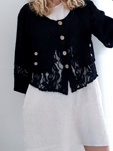 Helga May Amadeus Lace & Linen Jacket: Plain - Black