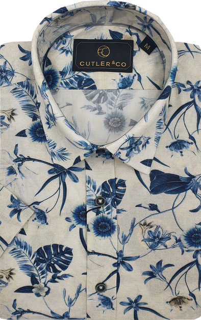 Cutler & Co Duke Short Sleeve Shirt - Navy Garden