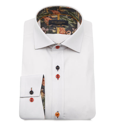 Guide London Long Sleeve Shirt - White & Flamingo Detailing