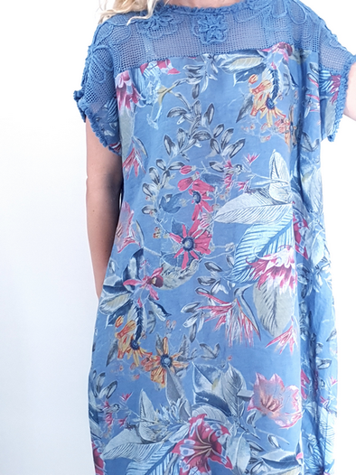 Helga May Tussock Dress: Tropical Rumble - Petrol