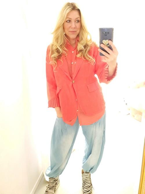 Helga May Bella Linen Suit Jacket Coral