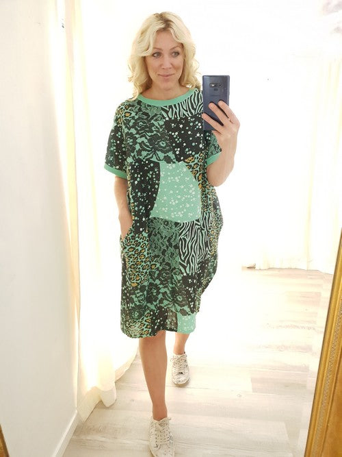 Helga May Patchwork Dress Orchid Dark Mint