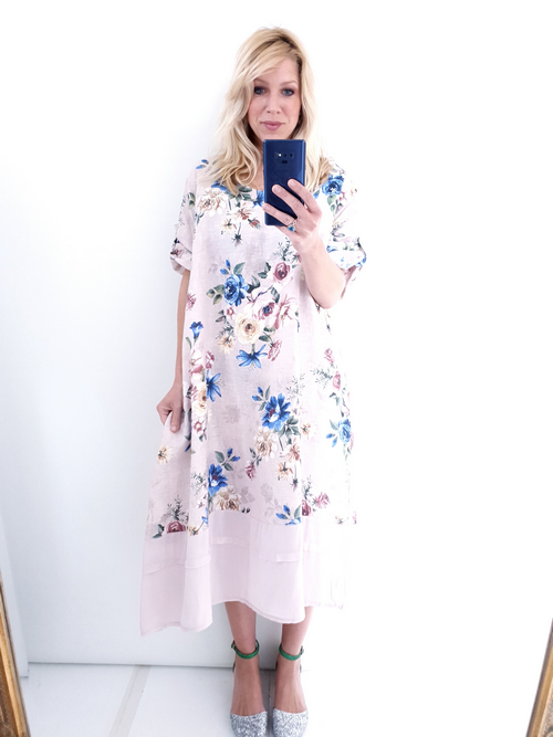 Helga May Garden Dress: Big Bouquet - Baby Pink