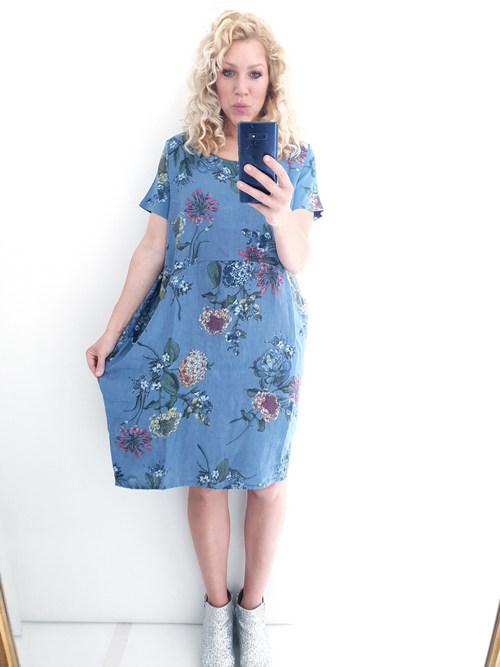 Helga May Jungle Dress: Dahlia Rose - Petrol