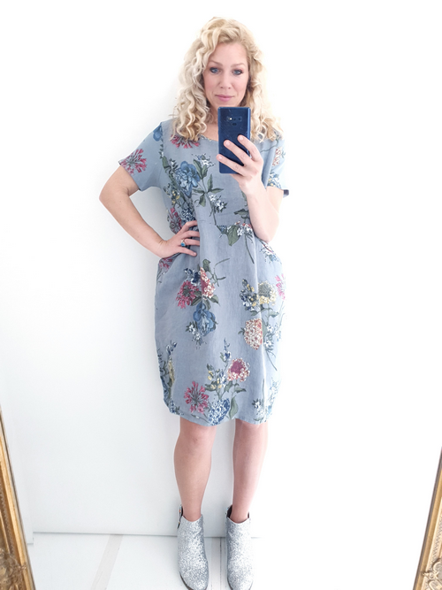Helga May Jungle Dress: Dahlia Rose - Grey