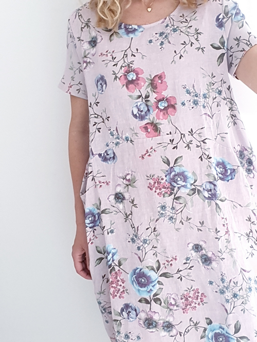 Helga May Jungle Dress: Meadow - Baby Pink