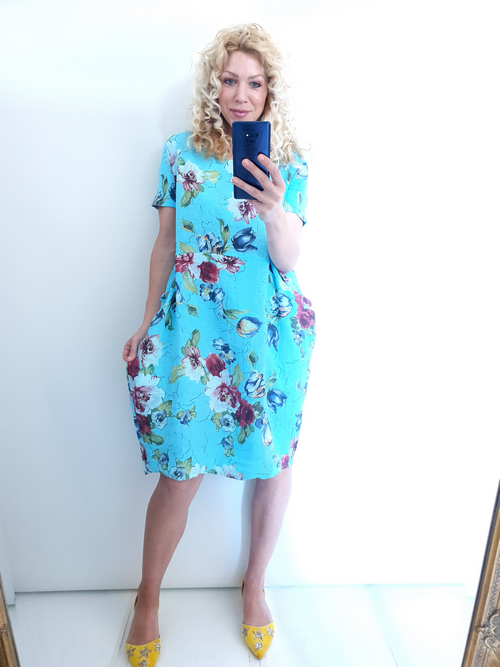 Helga May Jungle Dress: Tulip Line - Light Turquoise