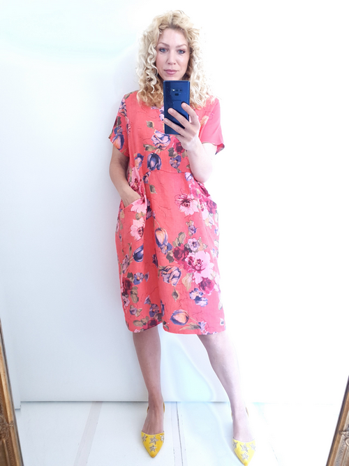Helga May Jungle Dress: Tulip Line - Coral