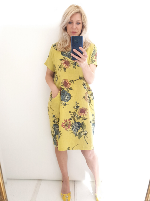 Helga May Jungle Dress: Crayon Rose - Antique Lime
