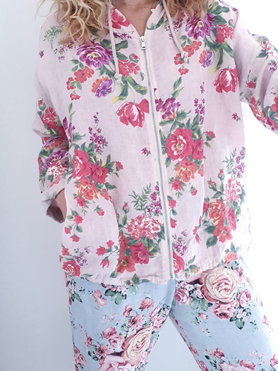 Helga May Linen Hoodie Jacket: Fleur Rose - Baby Pink