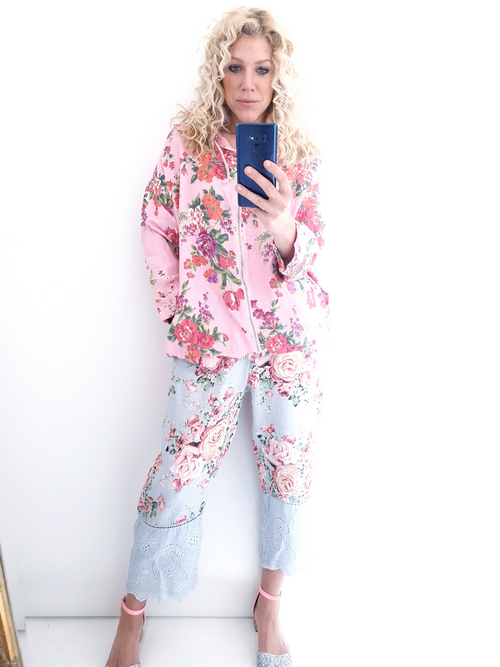 Helga May Linen Hoodie Jacket: Fleur Rose - Bubblegum Pink