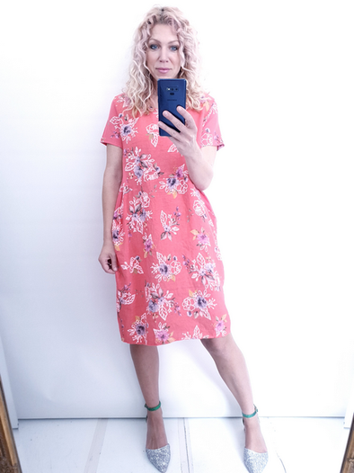Helga May Jungle Dress: Sketch Rose - Coral