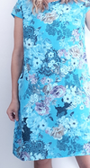 Helga May Kennedy Dress (SMALL) : Black Lace - Bright Turquoise
