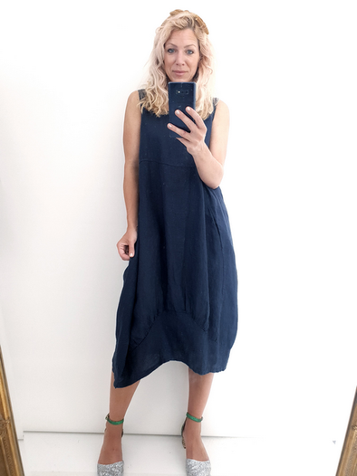 Helga May Maxi Dress: Plain - Navy