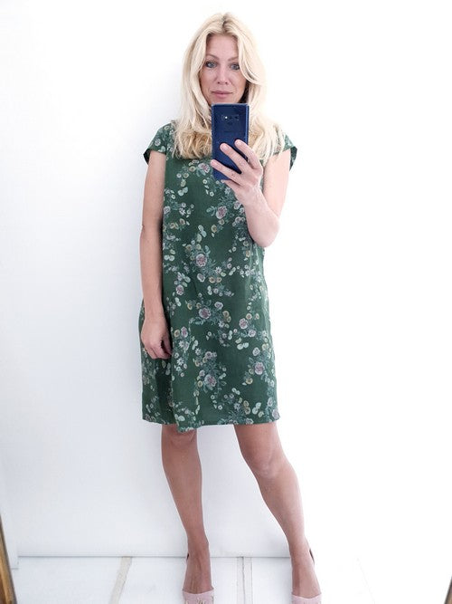 Helga May Kennedy Dress (SMALL) : Mini Bouquet - Pine Green