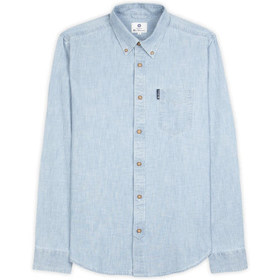 Ben Sherman Chambray Long Sleeve Shirt - Dusty Blue