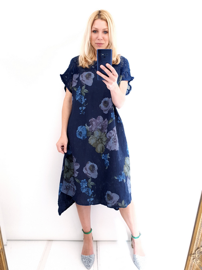 Helga May Tussock Dress: Frosty Rose - Navy