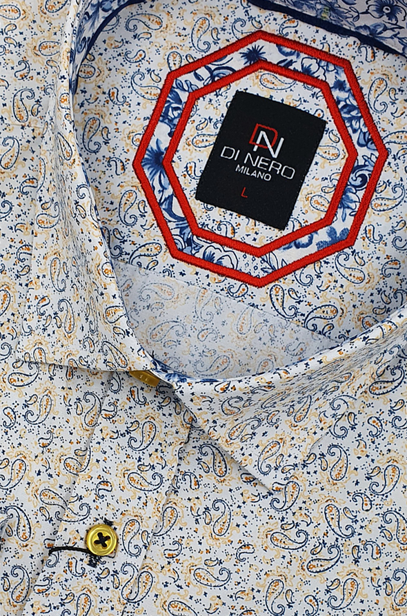 Di Nero Long Sleeved Shirt - Micro Gold Paisley