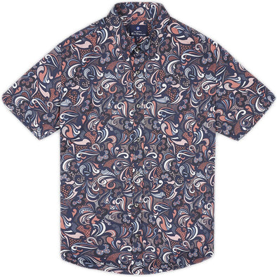 Ben Sherman Psychedelic Multi Print Short Sleeve Shirt - Navy