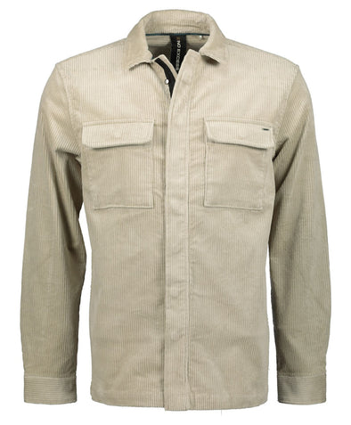 No Excess Fill Zip & Button Corduroy Jacket - Stone