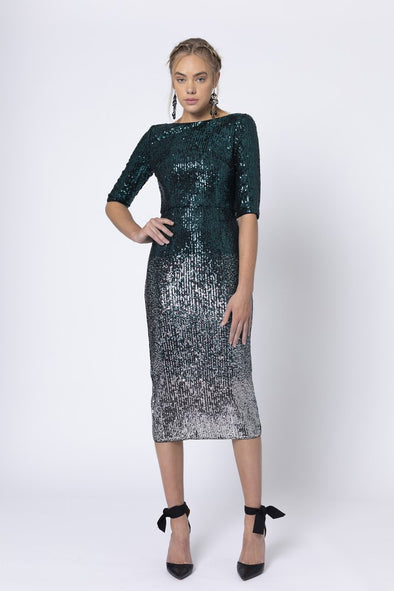 Marquise Backless Green & Silver Midi Dress