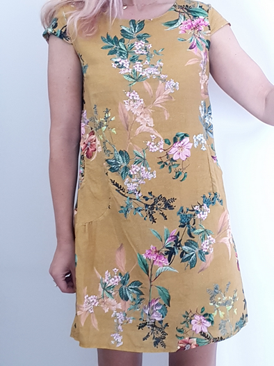 Helga May Kennedy Dress (SMALL) : Botanical - Mustard