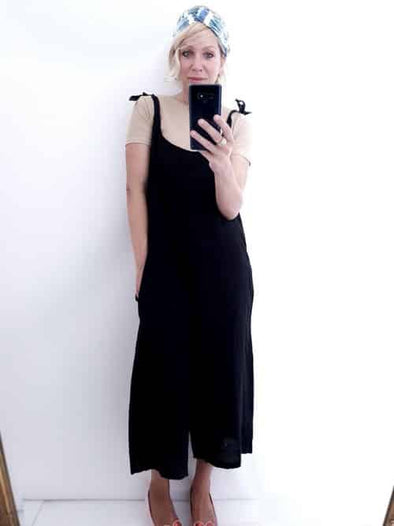 Helga May Linen Jumpsuit: Plain - Black