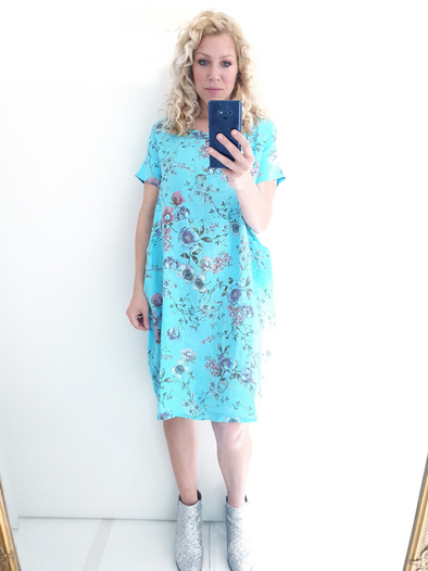 Helga May Jungle Dress: Meadow - Light Turquoise