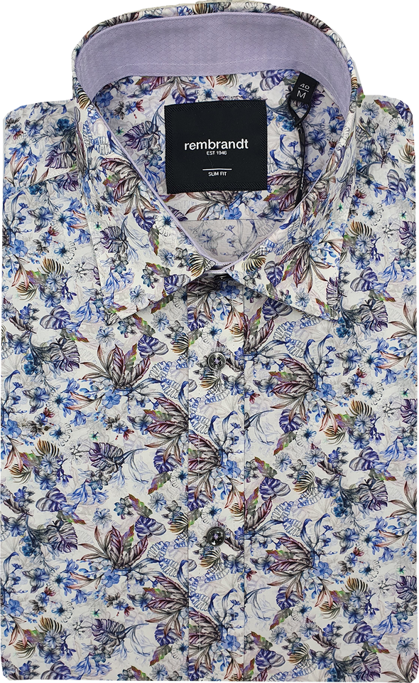 Barbican Long Sleeve Shirt - Blue Floral & Lilac