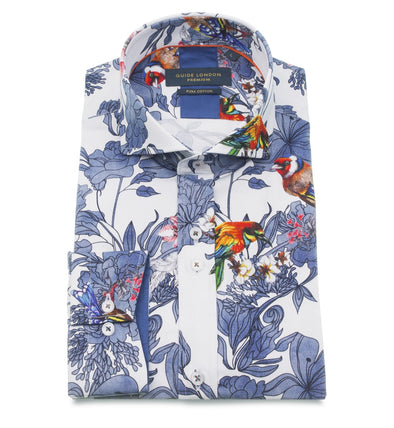 Guide London Long Sleeve Shirt - Porcelain Floral & Bird