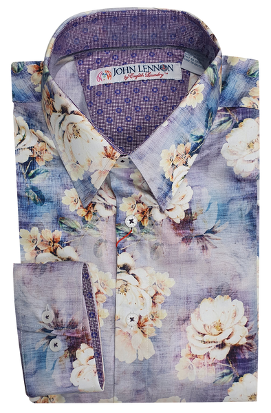 John Lennon Purple Floral Print Long Sleeve Shirt