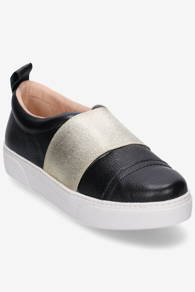 Hey Monday Hailey Black & Gold Sneaker