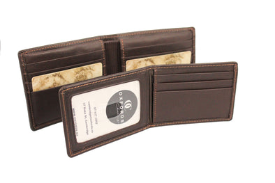 Brown Two In One Detachable Card & Note  Leather Wallet