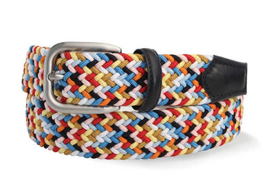 Woven Multi Colour Stretch Belt With Italian Leather Detailing
