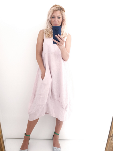 Helga May Maxi Dress: Plain - Baby Pink