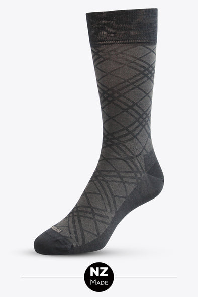 Merino Unisex Pattern Dress Sock - Taran Argyle