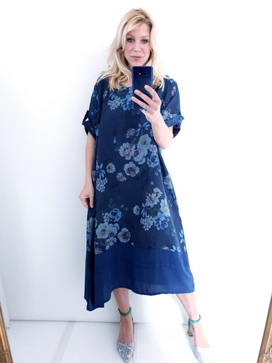 Helga May Garden Dress: Big Bouquet - Navy