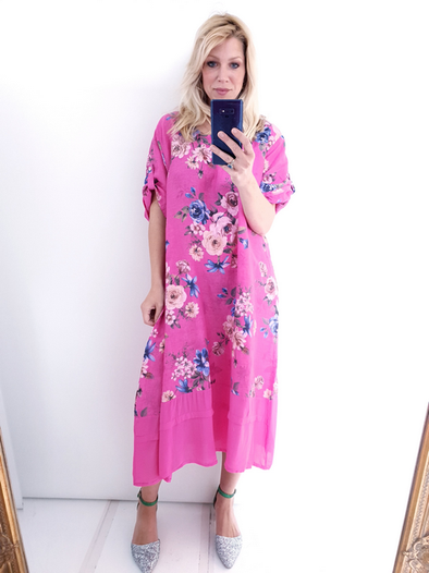 Helga May Garden Dress: Big Bouquet - Hot Pink