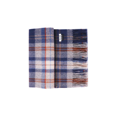 100% Lambs Wool Scarf - Denim Cognac Check