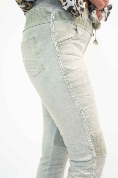 The Italian Closet Costine Stretch Jean/Ribbed Knee/Silver Piping