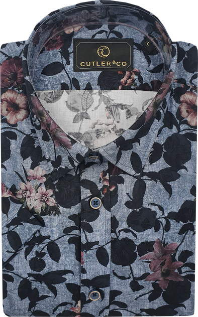 Cutler & Co Brody Short Sleeve Shirt - Midnight Blossoms