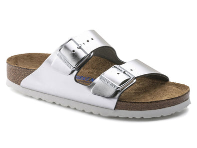 Birkenstock Arizona Leather Metallic Silver  Sandal