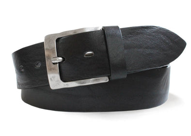 Rustic Black Italian Leather Belt